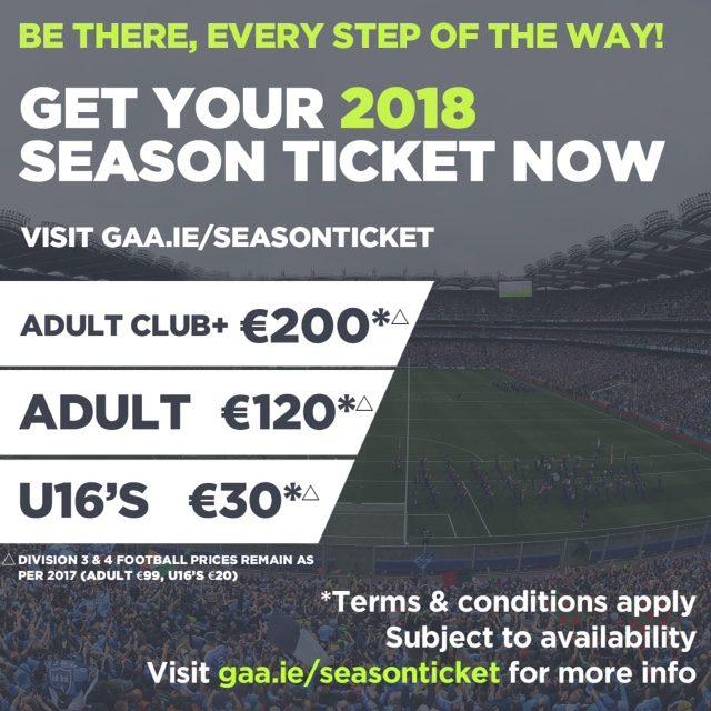 2018 GAA Season Tickets