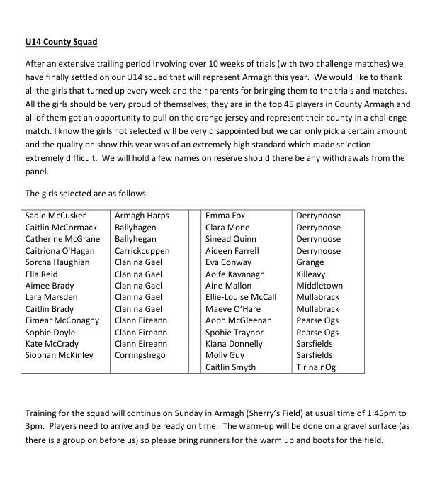 Final squad for Armagh ladies u14s